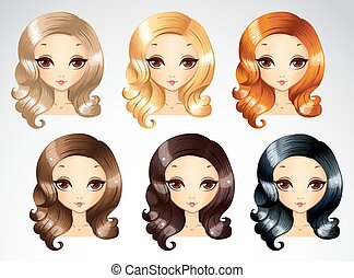 Fashion Evening Curls Hairstyling Set - Vector illustration...