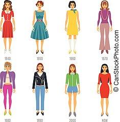Fashion Evolution Icons Set