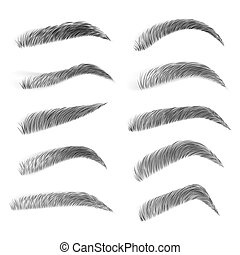 Fashion eyebrows of various shapes and types. Various types of eyebrows. Black eyebrow pack. Black eyebrows isolated on white background. Vector illustration