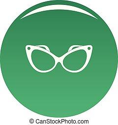Fashion eyeglasses icon vector green