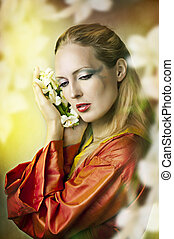 Fashion fairytale portrait of young beautiful woman