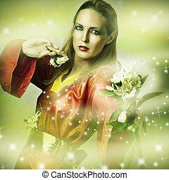 Fashion fantasy portrait of magic woman - fairytail forest...