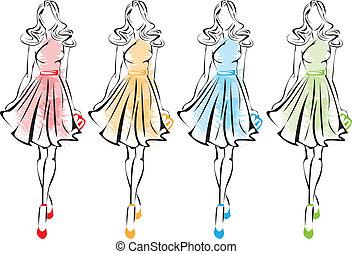 Fashion. - Fashion models in sketches.