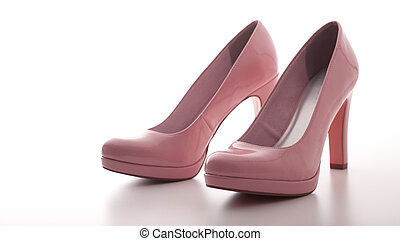 fashion female pink shoes with heels isolated.
