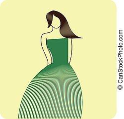 Stylized fashion figure. Vector illustration. Cartoon girl.