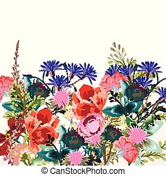 Fashion floral vectorbackground with rustic flowers.eps -...