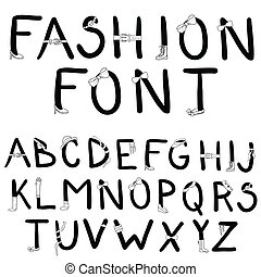 Fashion font. Font with fashion accessories.