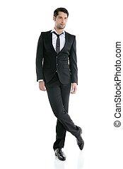 Fashion full length elegant young black suit man