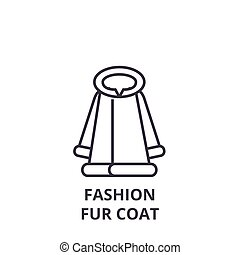 fashion fur coat line icon, outline sign, linear symbol,...