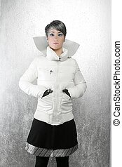 fashion futuristic winter woman over silver