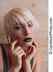 fashion girl blonde with short hair fashion