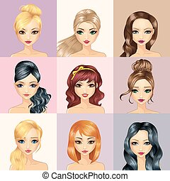 Fashion Girl Characters Avatars