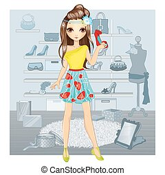 Fashion Girl Chooses Shoes