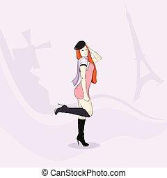 Fashion Girl Elegant Dress Hat Eiffel Tower Paris