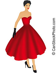 fashion girl - fashion over the years on a white background