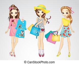 Fashion Girl Friends Do Shopping