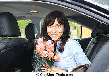 Fashion girl in a car