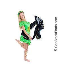 Fashion girl in belly dance dress.