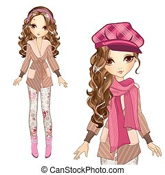 Fashion Girl In Cap And Coat