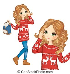Fashion Girl In Christmas Sweater - Vector illustration of...