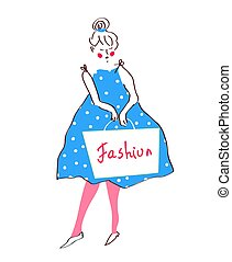Fashion girl in dress, retro style - vector graphic...