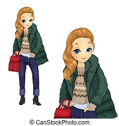 Fashion Girl In Green Jacket