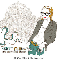 Fashion girl in leather jacket on the street vector illustration