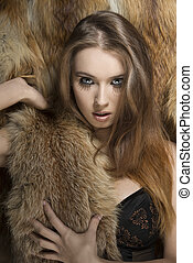 fashion girl in lingerie with fur