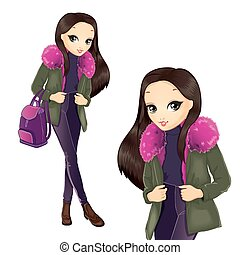 Fashion Girl In Pink Fur Coat - Vector illustration of...