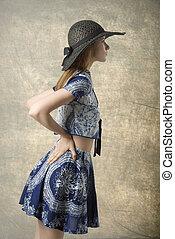 fashion girl in profile