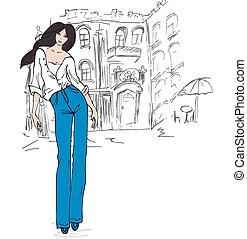 Fashion girl in sketch
