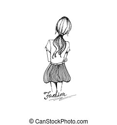 Fashion girl in sketch style. Vector illustration