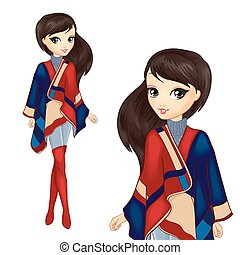 Fashion Girl In Stylish Poncho - Vector illustration of...