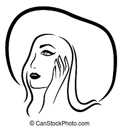 Fashion girl in the wide-brimmed hat, vector outline