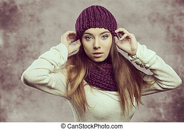 fashion girl in winter season