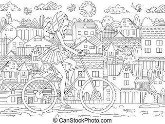 Fashion girl is riding on a bicycle in city for your coloring bo