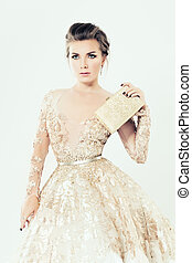 Fashion Girl. Makeup, Jewelry, Gold Dress and Clutch