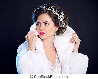 Fashion girl model in white fur coat, luxury jewelry,...