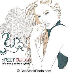 Fashion girl on the street vector illustration
