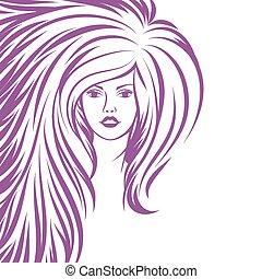 Fashion girl portrait. Beautiful woman with long hair