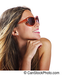 Fashion girl portrait - Smiling young woman with sunglasses...