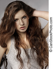 fashion girl portrait - very nice and fresh young girl with...