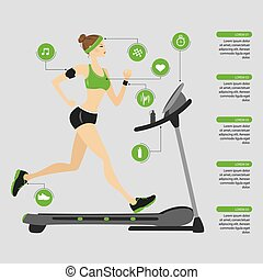 fashion girl running on a treadmill