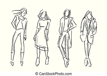 fashion girl set vector sketch illustration isolated ...