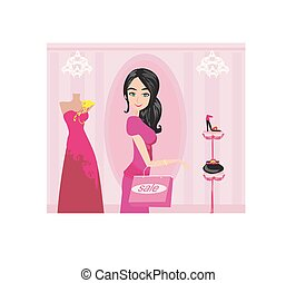 Fashion girl Shopping illustration