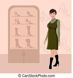 fashion girl shopping in shoe shop - Illustration fashion...