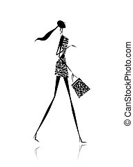 Fashion girl silhouette with shopping bag