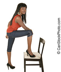 Fashion Girl Stepping On Chair