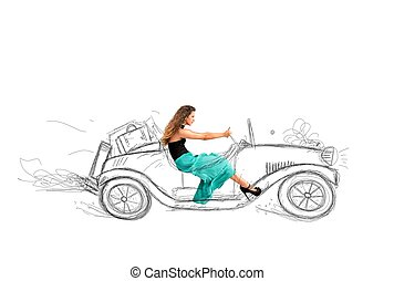 Fashion girl that drives