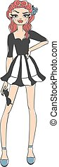 Fashion girl vector illustration.